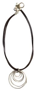 Jones New York New Jones Necklace Brown Leather w/Matte Gold Rings.