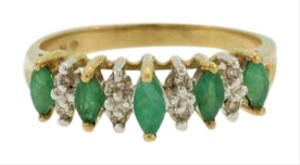 Other Marquise Emerald And Diamond Ring- 10k Yellow Gold
