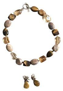 Sigrid Olsen Sigrid Olsen Stone Neutral Color Necklace W/Matching Earrings.