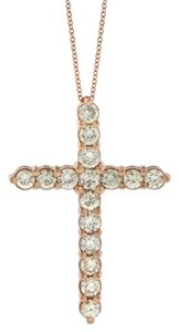 1.99 Ct. Natural Large Diamond Cross Pendant Necklace In Solid 14k