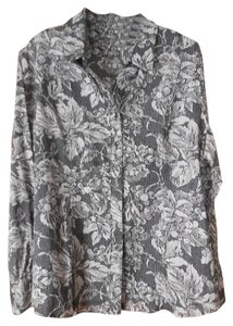 Coldwater Creek Petite Cotton Longsleeves Top Black and Grey