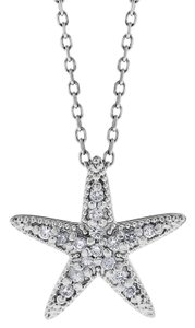Other 0.14 Ct. Natural Diamond Starfish Star Pendant In Solid 14k White Gold