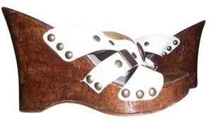 Diego di Lucca Wedge Stud Brazil Leather WHITE Wedges