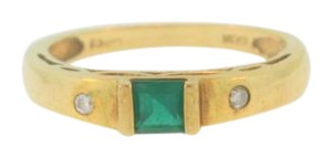 Other Vintage Emerald Solitaire And Diamond Ring- 10k Yellow Gold