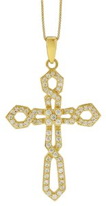 Other 0.75 Ct. Natural Diamond Intertwined Design Cross Pendant In Solid 14k