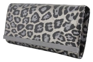 Banana Republic Black and Metallic Silver Pewter (LEOPARD) Clutch