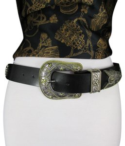 Other Women Belt Black Leather Western Fashion Texas Big Star Rodeo Buckle