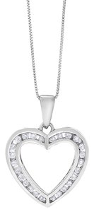 Other 0.35 Ct. Natural Diamond Heart Love 3D Pendant In Solid 10k White Gold