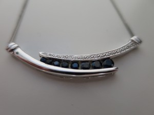 Zales White Gold, Diamond, And Real Sapphire Necklace