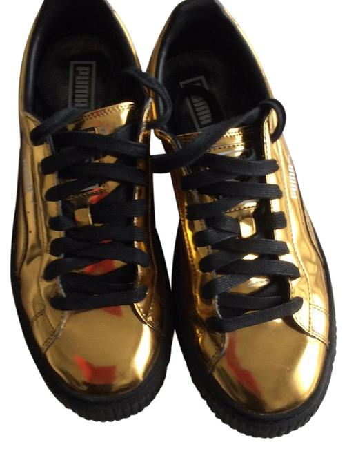 Item - Gold Metallic Platform Basketball Trainer Sneakers Size US 9 Regular (M, B)