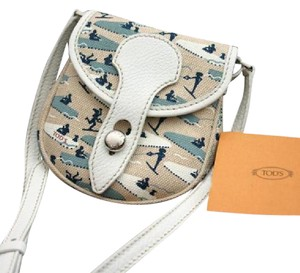 Tod's New Signed Canvas Cross Multi-Color Messenger Bag