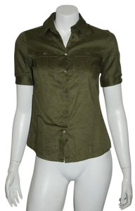 Miu Miu Linen J Crew Green Button Down Shirt khaki green