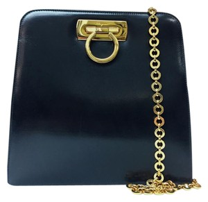 Salvatore Ferragamo Leather Gold Hardware Chain Cross Body Bag