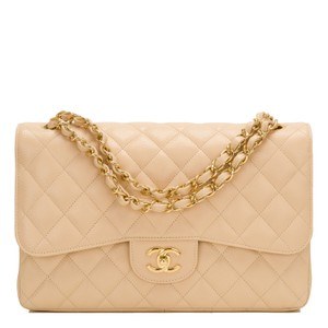 Chanel Beige Cc Jumbo Classic Flap Shoulder Bag