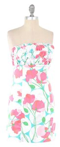 Lilly Pulitzer short dress Pink Poppy Cotton Sateen Ruffled Strapless Mini on Tradesy