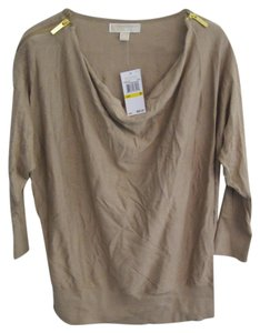 Michael Kors Cowl Zippers Khaki Sweater