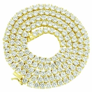 Other Tennis Chain 24 Simulated Diamond Iced Out Necklace Gold Tone 3mm