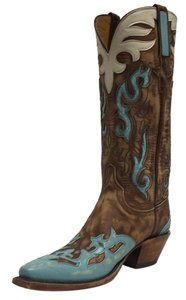 Lucchese Distressed Turquoise, Distressed Chocolate & Cream Colored Accents Boots