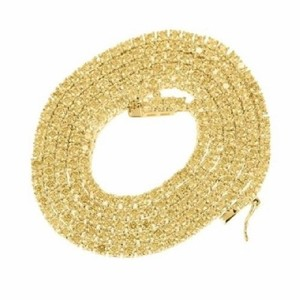 Other Mens Necklace 14k Yellow Gold Finish Canary Lab Diamond 1 Row