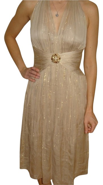 Item - Champagne and Gold Chiffon Shimmer Cocktail Dress Size 2 (XS)