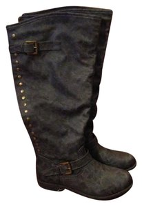 Journee Collection Wide Calf Riding Studs Dark Grey Boots