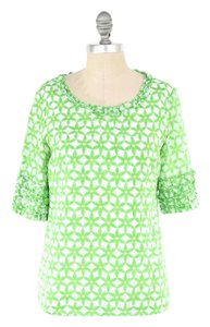 Lilly Pulitzer Silk Voile Short Sleeve Ruffled Boxy Top Green