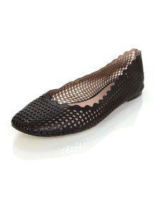 Chloé Chloe Perforated Scalloped Ballet Ballet Black Flats