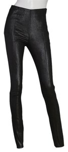 DROMe Iridescent Leather Suede Skinny Pants Black