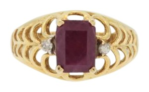 Other Victorian Style Ruby And Diamond Ring- 14k Yellow Gold