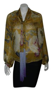 Roberto Cavalli Silk Button Front Top PRINT