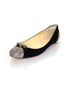 Christian Louboutin Bow Suede Snakeskin Black and grey Flats