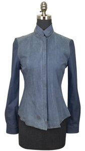 Elie Tahari blue suede and leather Leather Jacket