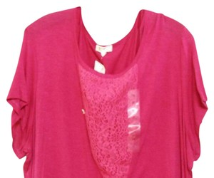 Madison & Berkely Plus Knit Lace 1x 1xl Top Fusha