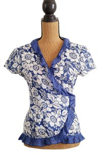 New York & Company Wrap Cotton Floral Ruffle Hem Top Blue, white