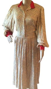 Beige Red Blue Yellow Maxi Dress by Zandra Rhodes for Jack Mulqueen