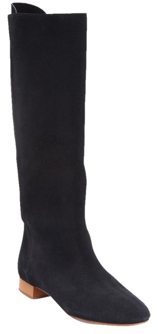 Item - Navy Suede Leather Knee High Round Toe Flat Heel 37.5 Boots/Booties Size US 7.5 Regular (M, B)