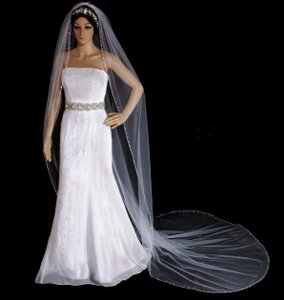 White Crystal And Rhinestone Edge Royal Cathedral Wedding Veil