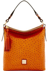 Dooney & Bourke Ostrich Emb Leather Lined Hobo Bag