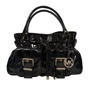 Michael Kors Shinny Patent Leather Brushed Gold Hardware Satchel in Black