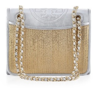 Tory Burch Satchel in silver and gold metallic
