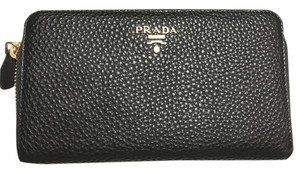 Prada PRADA NEW 1M0506 BLACK DANIO VITELLO SOFT LEATHER WALLET PURSE