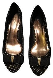 Etienne Aigner Polka Dot Cork Pin-up Vintage Black and White Wedges