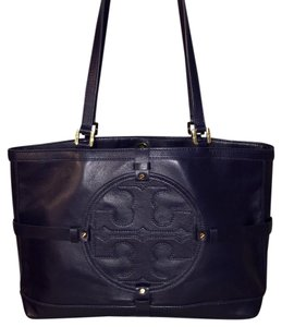 Tory Burch Leather Tote in Tory Navy