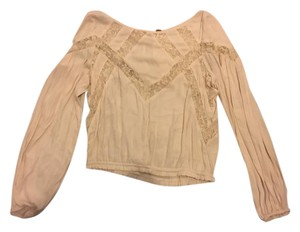 Free People Long Sleeve Lace Top Cream