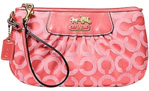Coach Silk Jacquard Leather Wristlet in Pink