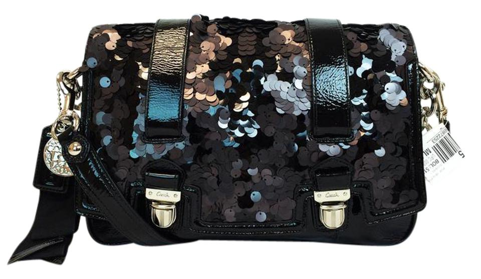 Coach 17899 Poppy Sequin Special Edition Pushlock Black Patent Leather  Shoulder Bag 05fdb32ff039d