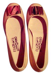 Salvatore Ferragamo Vintage Patent Leather Nude Flats