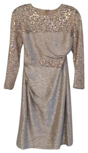 David Meister Sequin Accents Fabric Lace Neckline Lace Sleeves Dress