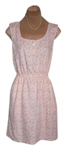 J.Crew short dress PINK WHITE DENIM-LIKE COTTON BLEND Epaulets On Pockets Excellent Fabric Excellent Tailoring on Tradesy