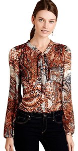Anthropologie Burnout Bow Top Burnished Paisley